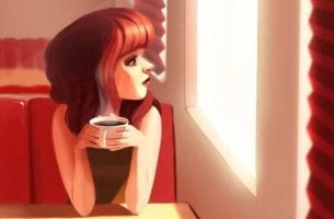 Girl with Coffee Looking Out Window