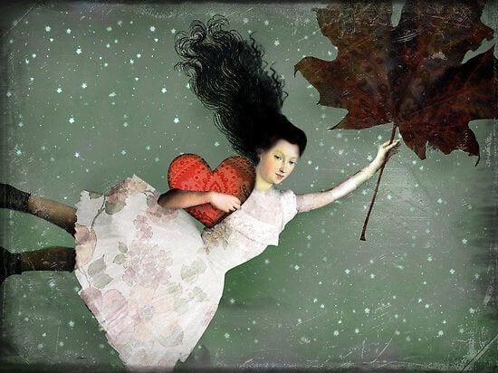 girl with leaf and heart action