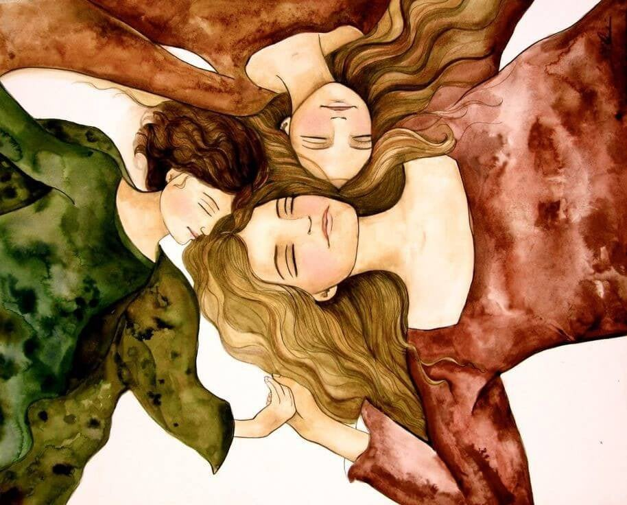 Woman Lying Heads Together