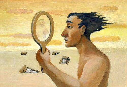 man looking in mirror envy