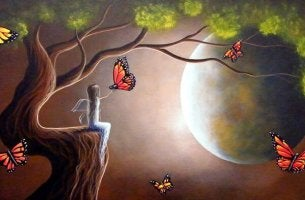butterflies girl and moon give
