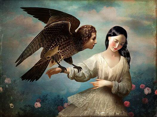 Woman Holding Human-Headed Eagle