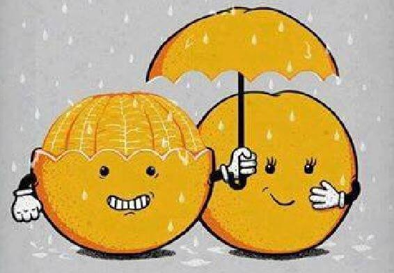 oranges with umbrella people