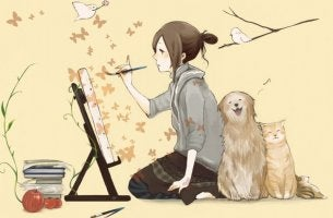 girl painting with animals pets