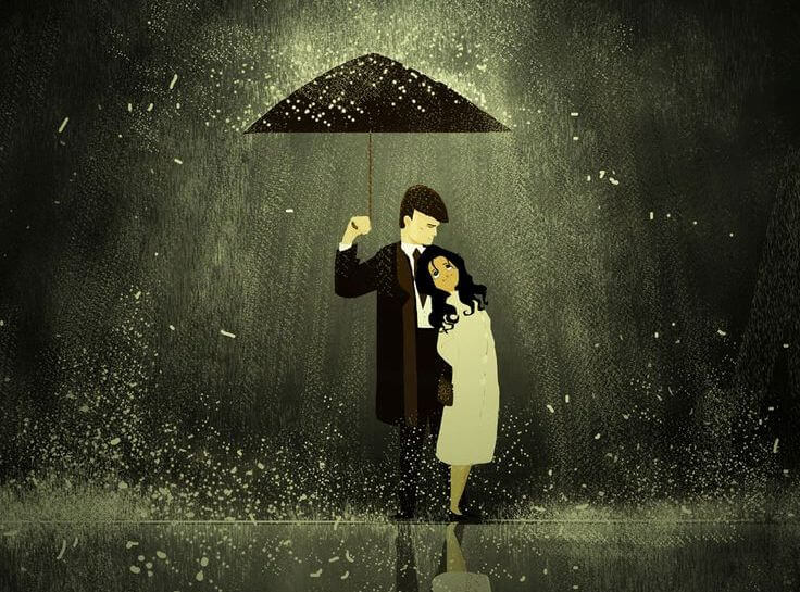 man and woman under umbrella brighten