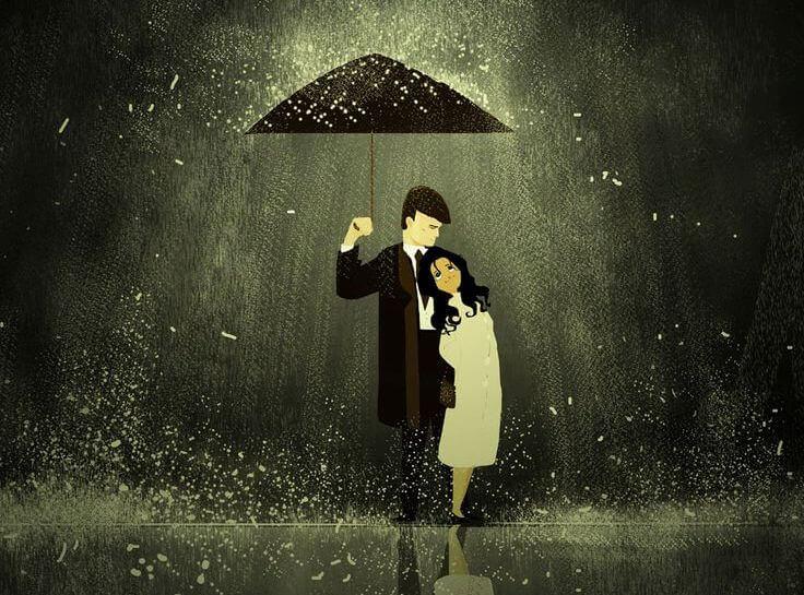 man and woman under umbrella brighten