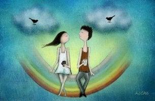 girl and boy on rainbow people