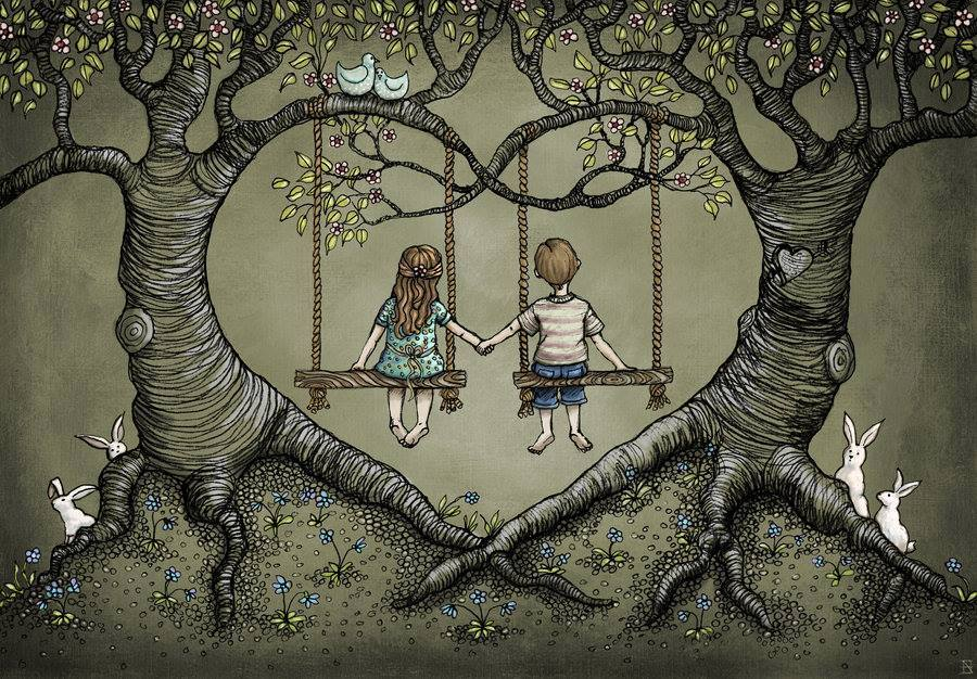 kids on swings holding hands give