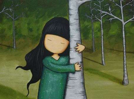 girl hugging tree people
