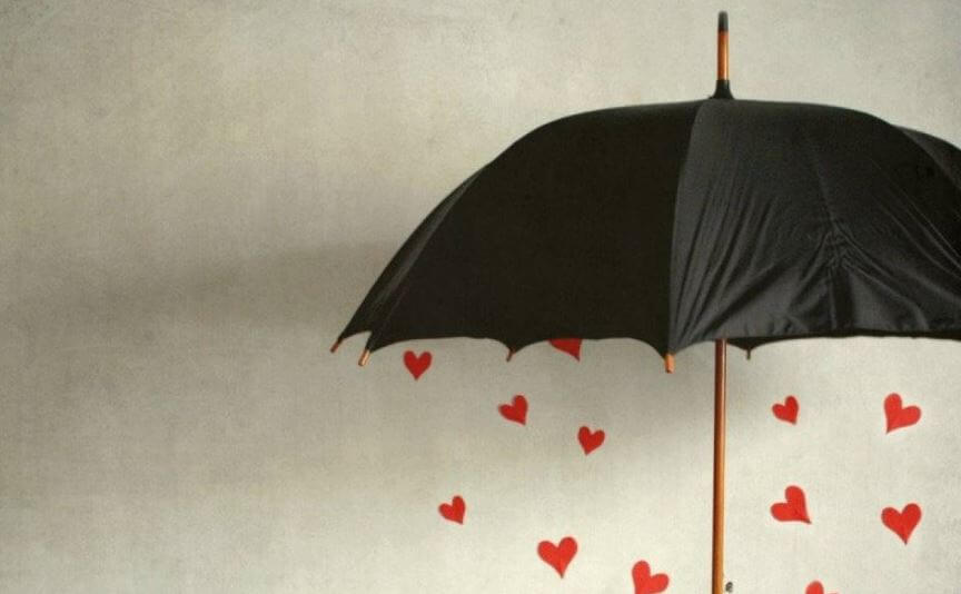 umbrella with hearts give