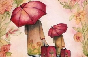 umbrellas and suitcases