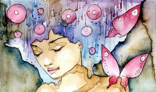watercolor girl with bubbles and butterfly interest