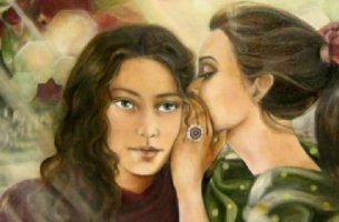 girl whispering people