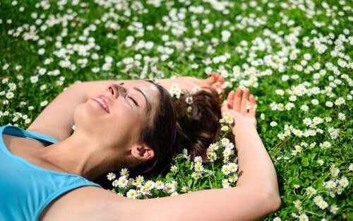 woman talying on a field of daisies
