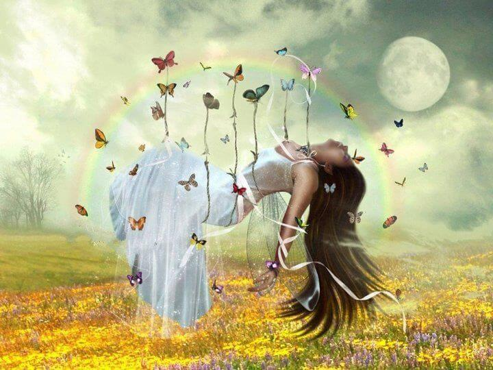 Woman Carried by Butterflies