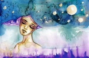 Sad Woman Head in the Stars