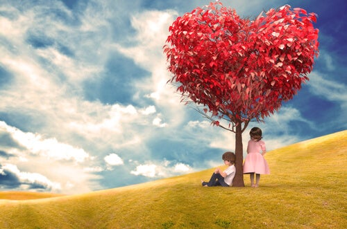 children under a heart tree