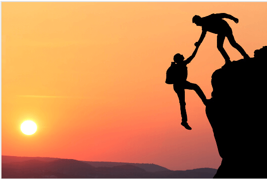 people climbing mountain trust