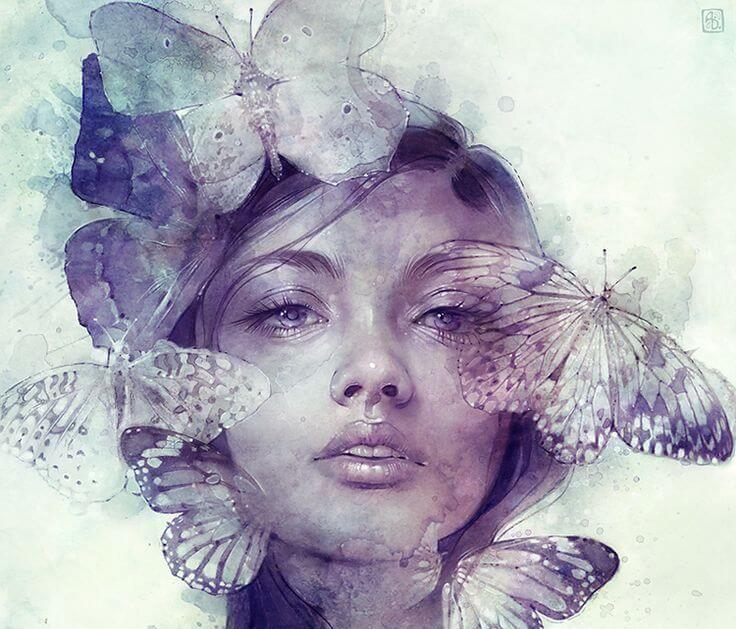 face with butterflies
