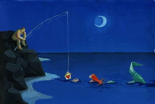 Mies kalastaa merenneitoa