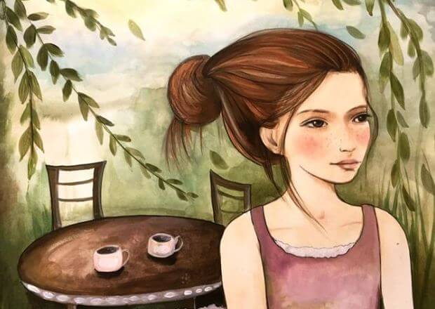 girl with bun and two mugs