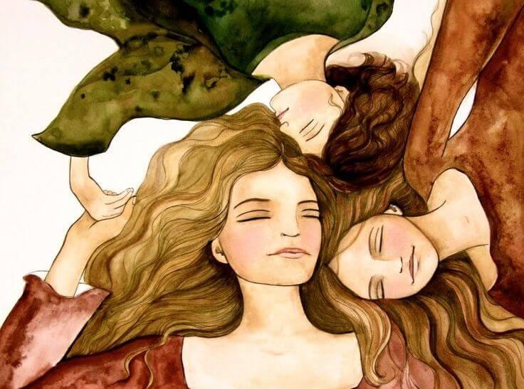 girls lying together enrich