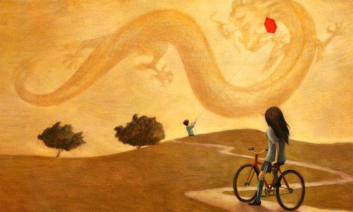 girl on bike kid flying kite enrich