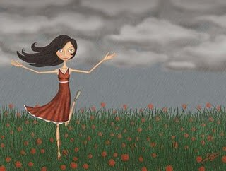 lady in red dress in a flower field