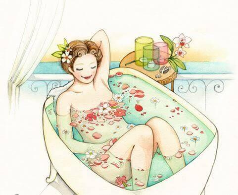 lady taking bath