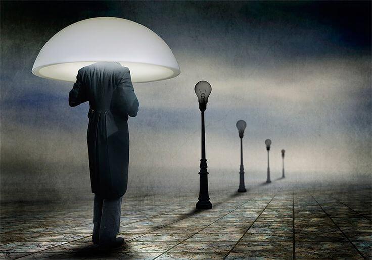 man streetlamp