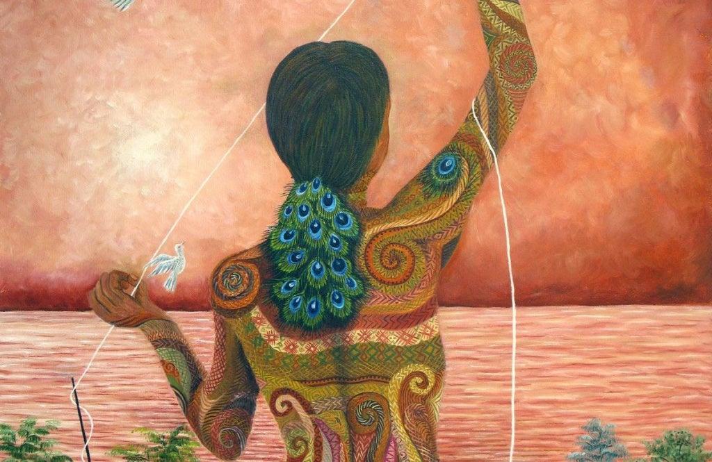Nainen ja lanka meren äärellä