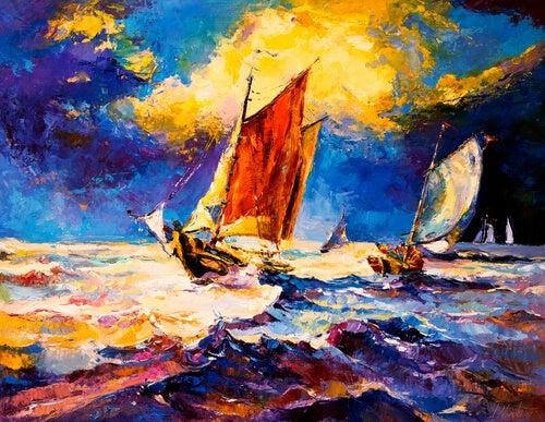 Laivat merellä myrskyssä