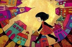 Girl Walking Through Town