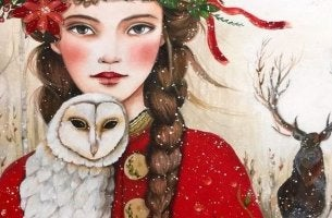 girl with owl in snow attitude