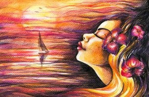 Woman Sea Sunset