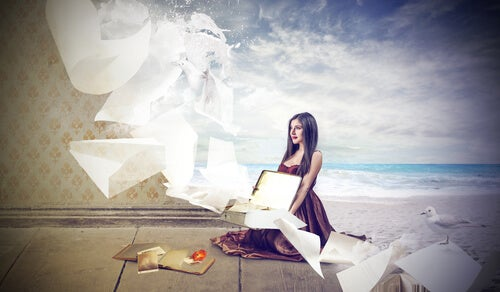 surreal image girl room and beach fantasy