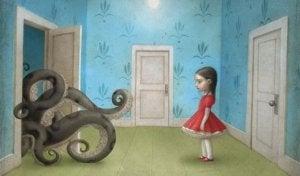 Girl Watching Octopus Come Out Door