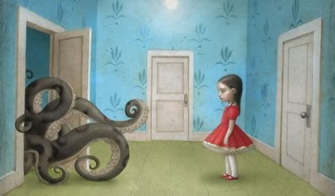 Girl Watching Octopus Come Out Door