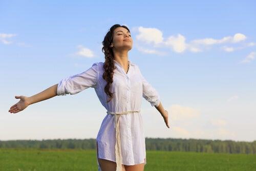 woman embracing life