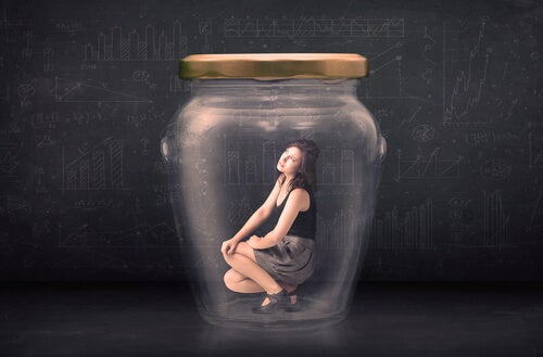 woman trapped in a jar afraid