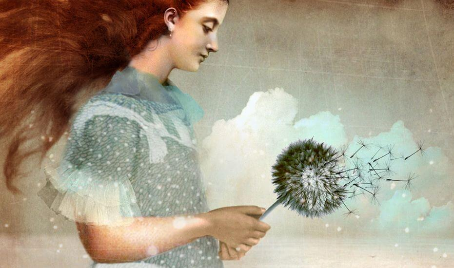 woman with dandelion goodbye ritual