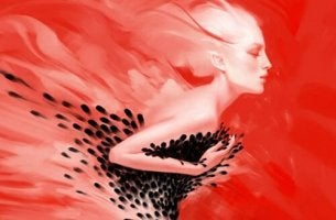 Woman Fading on Red Background