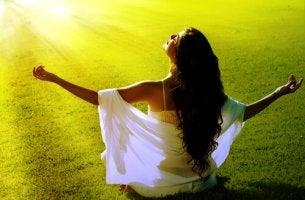 Woman Meditating in Sun