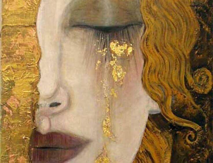 Woman Crying Gold