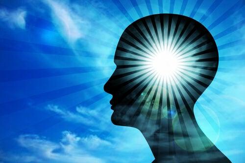 Man's Silhouette Glowing Brain