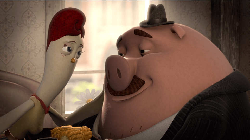 animated pig and chicken in love