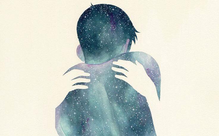 boy silhouette galaxy