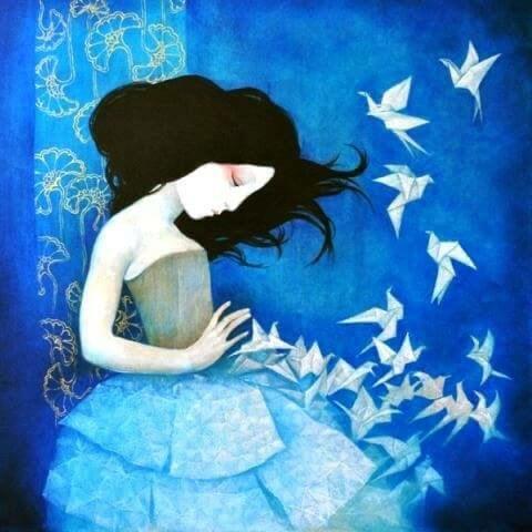 cold woman butterflies