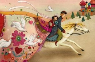 couple riding a horse