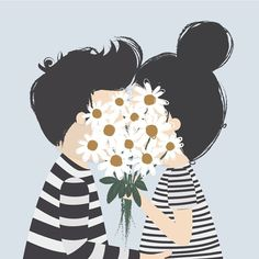 couple hiding behind flowers unreality